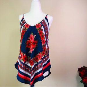 HeartSoul Bandana Floral Print Top M